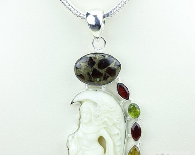 Lady on the Moon DEER ANTLE TOTEM Goddess Face Moon Face Bone Carving 925 S0LID Sterling Silver Pendant + 4MM Chain p3849