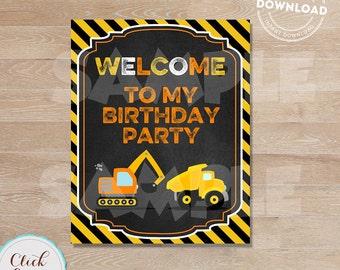 Construction Welcome Sign, Construction Birthday Sign,  Dump Truck Party, Birthday Party Sign, Chalkboard, Door Sign INSTANT DOWNLOAD