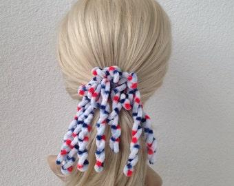 hair scrunchies, Ponytail Holder, White, Red, Blue
