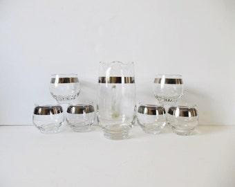 Mid Century Glasses Set Vintage Whiskey Glasses Vintage Bareware Mid Century Modern Silver Whiskey Glasses Striped glasses Mad men pitcher