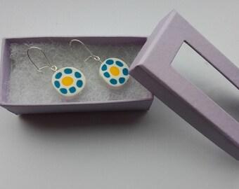 Rustic flower earrings, simple polmer clay flower earrings, blue and yellow flowers