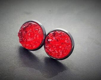 Gothic Stud Earrings, Vampire Jewelry, Blood Red Earrings, Emo Jewelry, Goth Gift, Red Faux Druzy, Gunmetal Jewellery, Halloween Earrings