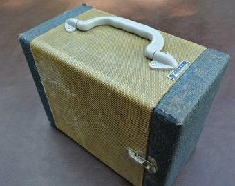 Vintage Slide Case, Zephyr Slide Box, Tweed Covered, Makeup Case, Retro Storage Container, Jewelry Case
