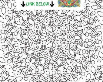 christmas mandala coloring page night lights printable christmas coloring page adult coloring pages
