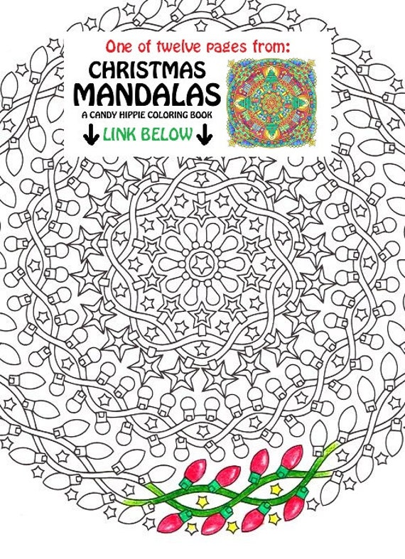 christmas mandala coloring page night lights printable christmas coloring page adult coloring pages christmas lights stars - Christmas Mandalas Coloring Book