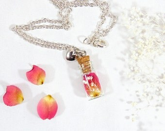 Rose petal necklace, real flower pendant, terrarium necklace, real rose necklace, romantic jewelry