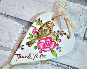 Unique thank you gift, Hanging heart decoration, Appreciation gift, Thank you bridesmaid gift idea, Thank you card alternative, Inexpensive