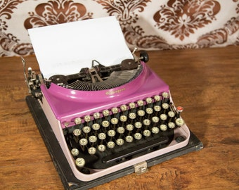 Rare Purple Orchid Duotone Remington #3 Portable Typewriter - With Case! #TW16