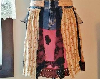 Upcycled Shabby Chic Skirt, Bohemian Skirt, Gypsy Skirt, Upcycled Clothing, Mini Skirt