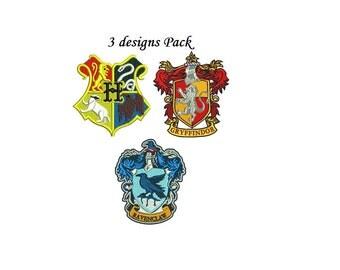 Harry Potter Embroidery Design Pack - 3 designs - Hogwarts Ravenclaw Gryffindor logos