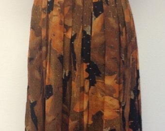 Vintage 1980's Pleated Autumn Midi Skirt - UK Size 16 - 18