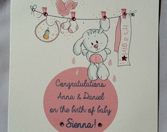 Personalised Handmade Baby Congratulations Card