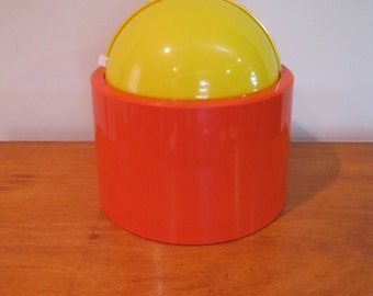 Mod Ice Bucket, Dome Master, Retro Orange and Yellow Ice Bucket, Nicholas Angelakos, 1960's Vintage Plastic Ice Bucket