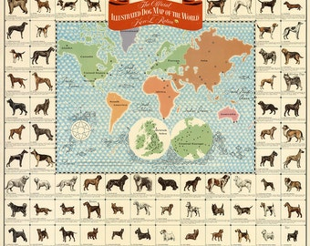 """Illustrated Dog Map of the World Giclee Fine Art Print 18""""x 22"""""""
