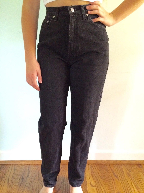 90 39 s gap reverse fit jeans mom jeans high waisted black. Black Bedroom Furniture Sets. Home Design Ideas