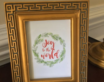 Joy to the World - Christmas - Art Print - Wreath - Holiday - Red and Green - 5x7 or 8x10