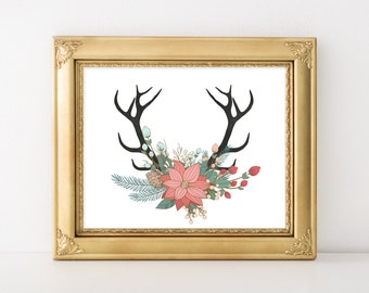 Floral antlers print - 8x10 Christmas printable art, floral Christmas print, Holiday decorations, Poinsettia bouquet, Deer Antlers
