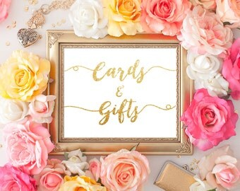 Wedding Gifts & cards Sign 8x10 Gold Glitter Calligraphy Sign DIY Wedding Ceremony Sign Printable Image Digital INSTANT DOWNLOAD 300dpi