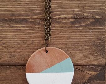 Modern Wood Pendant Necklace, Modern Geometric Pattern, Wood Jewelry, Minimalist Wood Pendant, Double-sided Pendant