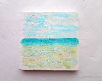 """Beach Painting Mini Canvas """"No One There"""" Original Artwork"""