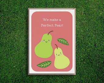 Greeting Cards | Perfect Pear Card, Cute, Quirky, Pun, Pair, Love, Romantic Valentines, Silly, Cheeky Illustration.