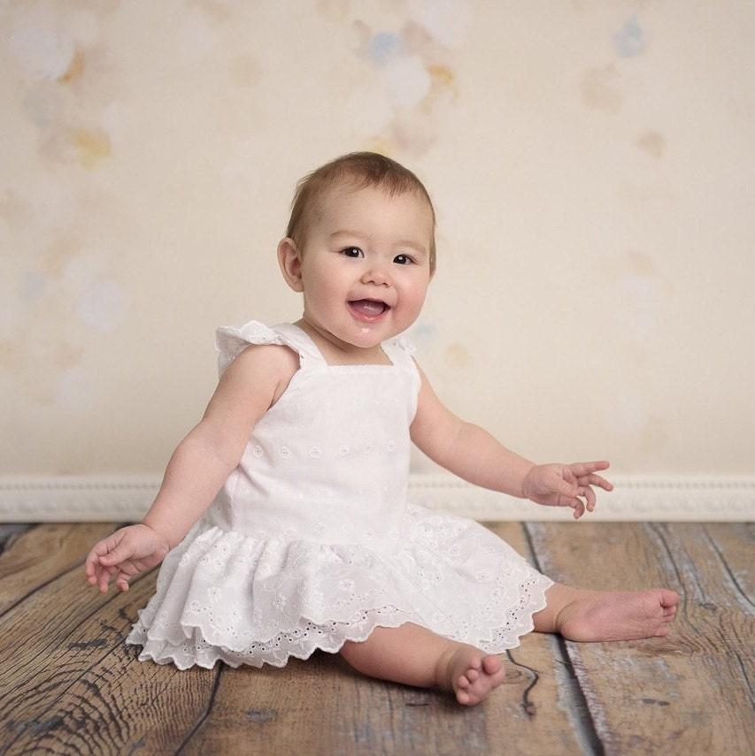 Baby White Dress Baby White Romper Baby Cotton Eyelet Dress