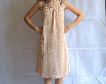 90s Vintage Terry Fabric Towel Dress Cream Summer Beach Dress