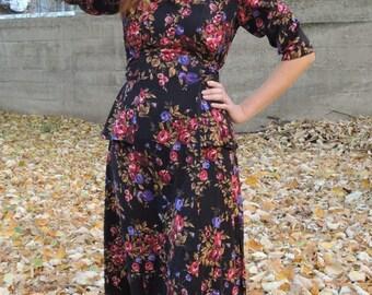 Vintage Floral Dress/ 60s 70s Boho Maxi Dress
