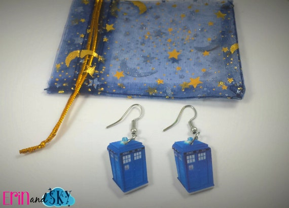 TARDIS Earrings - FREE SHIPPING - Doctor Who Inspired Police Box Jewelry Gift - Bbc Inspired Dr. Who Earrings - Sci-Fi Geeky Jewelry Gift