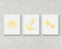Yellow & Gray Nursery Wall Art Set Of 3 - Girls /Boys Room Wall Decor - Nautical Printable - Coral/ Anchor/ Starfish Prints - Beach Themed