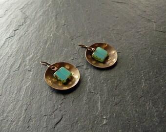 Boho earrings, braas earrings, domed brass earrings with glass beads, turquoise dangle earrings, hammered earrings, nickel free earrings