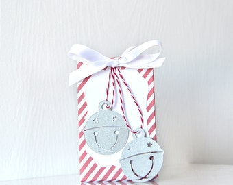 Jingle Bells Gift Card Holders: Candy cane striped gift card box with ribbon, great for wrapping those holiday gift cards - LRD004GH