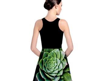 Reversible Skater dress - Wear it both ways! - Lotus succulent dress - Art photography - San Francisco