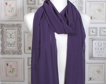 Purple Plain Chiffon Scarf / Summer Scarf / Autumn Scarf / Gift for Her / Womens Scarves / Hijab / Fashion Accessory / College Scarves