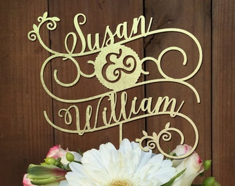 Custom Cake Topper for Wedding Cake - Names in a decorative swirls- Cake Topper