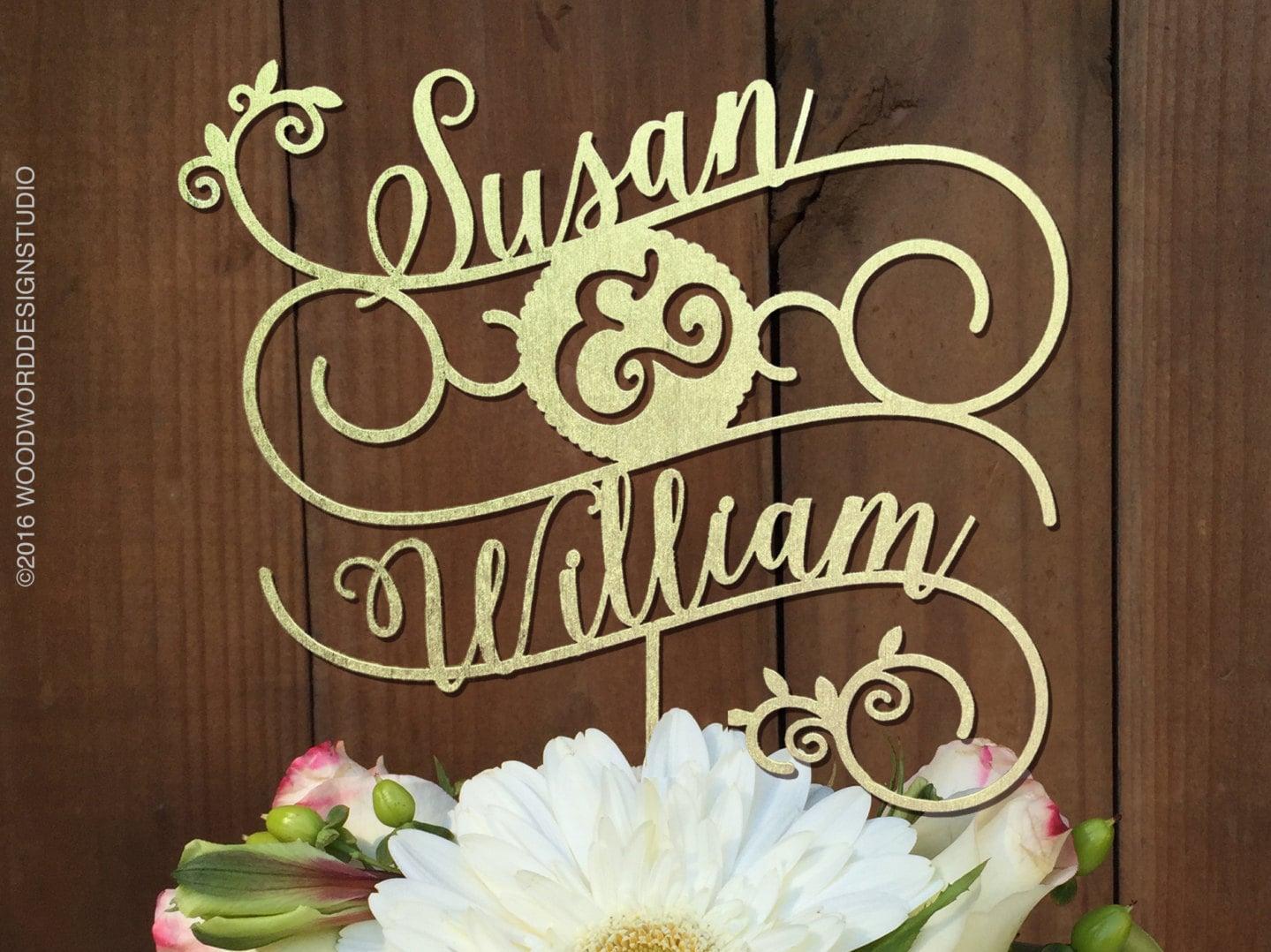 Custom Cake Topper for Wedding Cake Names in a decorative
