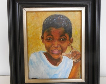 Just One More Thing, Original Framed African American Art, 8x10