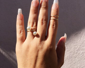 Pearls Crystals Ring, Gold Plated Ring, Pear Ring, Crystals Ring, Statement Ring, Fashion Ring, gold ring, pearl ring, ring