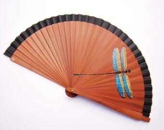 HandFan / DRAGON FLY / Handpainted Fan / Wooden handfan / cotton handfan / Spanish handfan / Modern handfan / Pop handfan / artisan handfan
