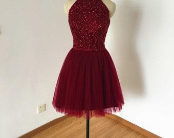 Backless Burgundy Tulle Short Homecoming Dress 2016