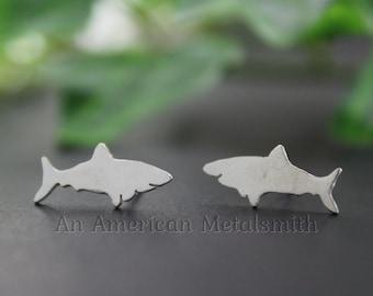 Sterling Silver Shark Earrings, Shark Jewelry, Silver Stud Earrings, Fish Earrings, Fish Jewelry, Ocean Earrings, Animal Stud Earrings