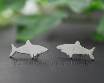 Shark Earrings, Silver Shark Jewelry, Minimal Earrings, Stud Earrings, Jaws, Beach Lovers Gift, Under the Sea, Nature Lover Gift