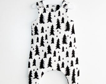 SALE! SALE! Trees-White and Black Organic cotton baby romper  lots of prints,lots of colors,toddler romper,baby romper,romper,organic romper
