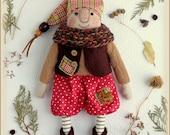 fabric soft doll forest gnome Primitive Doll rag doll cloth doll ooak handmade doll art doll