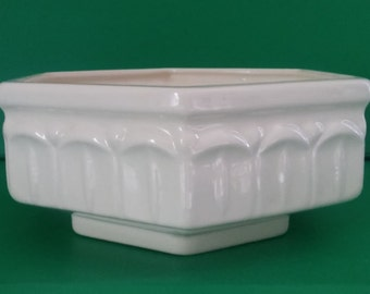 Vintage Ceramic Planter Flower Pot Cachepot Cream Ivory Off White Hexagon