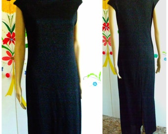 90's Black Maxi Dress/Formal Gown/Stretchy/Sparkle/Vintage Dress/1990's