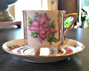Vintage Footed Tea Cup and Saucer by Exclusive B P Japan