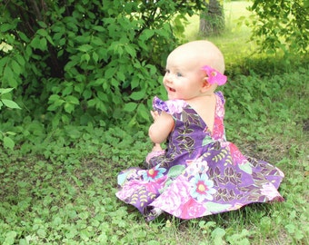 Baby Ayda's V Back Peplum Top & Dress. PDF sewing pattern for toddler girl sizes NB-24 months.