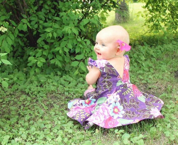 Baby Ayda's V Back Peplum Top & Dress. PDF sewing pattern for toddler girl sizes NB-24 months.