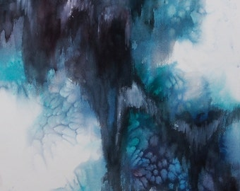 """SALE 40% Off Original Abstract Watercolor Painting, Dark Blue, 14"""" x 20"""""""